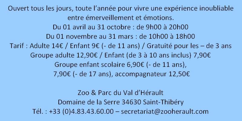 tarif zoo saint thibery