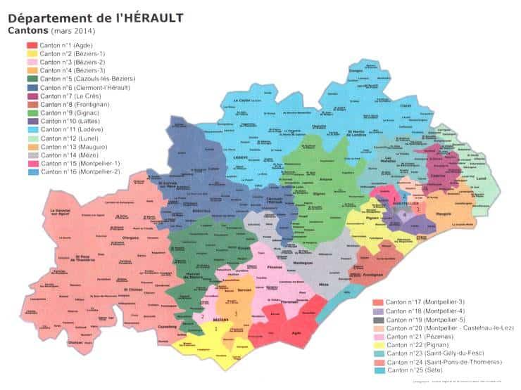 Les cantons de l'Hérault